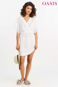 Oasis White Cheesecloth Kaftan