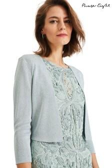 Phase Eight Blue Salma Shimmer Knitted Jacket