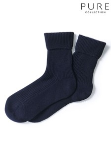 Pure Collection Blue Cashmere Bed Socks
