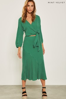 Mint Velvet Green Spotted Midi Skirt