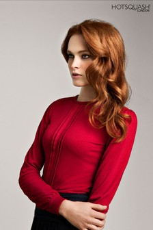 HotSquash Red Pleat Front Blouse
