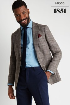 Moss 1851 Tailored Fit Brown Check Blazer