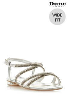Dune Ladies Silver Wide Fit Diamante Flat Sandal Shoe
