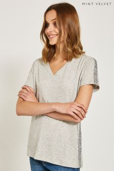 Mint Velvet Grey Sequin Trim Tee