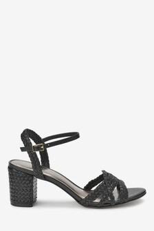 Фирменные плетеные сандалии с квадратным каблуком