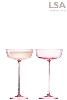 Set of 2 LSA International Champagne Theatre Blush Champange Saucers