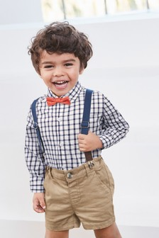 Check Shirt, Shorts And Bow Tie Three Piece Set (3mths-7yrs)