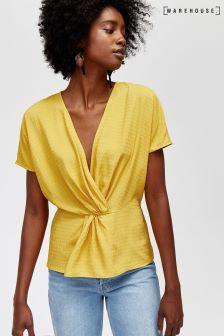 Warehouse Yellow Twist Front Dobby Tee
