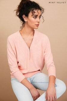Mint Velvet Pink Zip Front Jumper