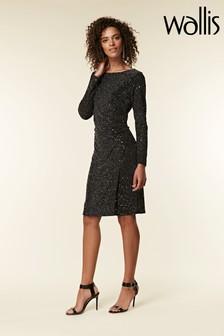 Wallis Black Cosmic Ruched Side Shift Dress