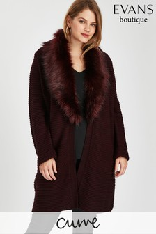 Evans Purple Berry Faux Fur Cardi
