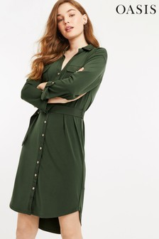 Oasis Green Utility Crepe Shirt Dress