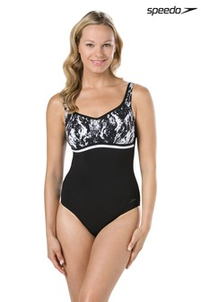 Speedo® Black/White Contour Luxe Swimsuit
