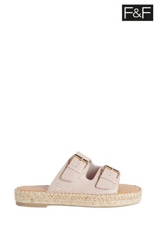 F&F Pink Snake Print Chunky Footbed Sandals