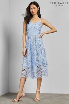Ted Baker Blue Lace Midi Dress