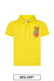 Moschino Kids Baby Boys Yellow Cotton Poloshirt