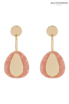 Accessorize Pink Teardrop Charm Earrings