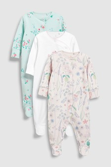 Embroidered Giraffe Sleepsuits Three Pack (0mths-2yrs)