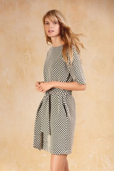 Jacquard Belted Dress