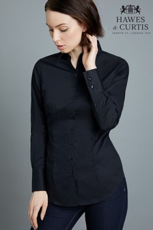Hawes & Curtis Long Sleeve Black Stretch Shirt