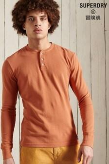 Superdry Orange Long Sleeved Waffle Henley Top