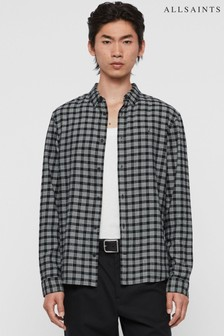 AllSaints Black Check Petro Shirt