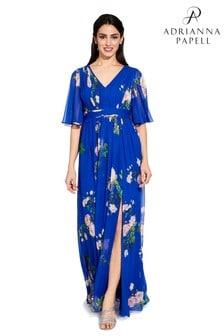 Adrianna Papell Blue Long Chiffon Dress