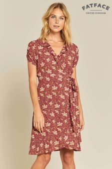 FatFace Red Greta Wrap Stitchwork Dress