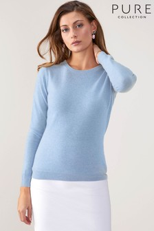 Pure Collection Blue Cashmere Original Fit Crew Neck Sweater