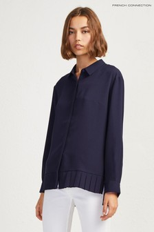 French Connection Blue Crepe Light Pleat Shirt