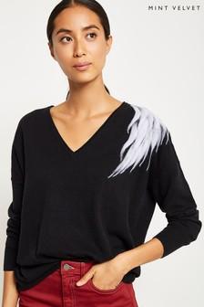 Mint Velvet Black Felted Oversized Cocoon Knit