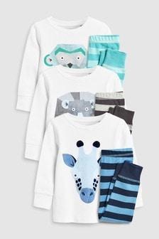 Pack de tres pijamas cómodos de Animal (9 meses-8 años)