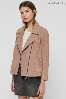 AllSaints Soft Pink Macy Suede Biker Jacket
