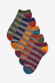 5 Pack Stripe Trainer Socks