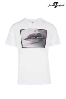 7 For All Mankind T-Shirt mit Lippen-Motiv, weiß