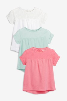 Woven Yoke Embroidered T-Shirts Three Pack (3-16yrs)