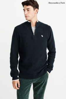 Abercrombie & Fitch Navy Icon Half Zip Sweater