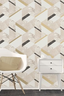 Fine Décor Marble Effect Geo Wallpaper