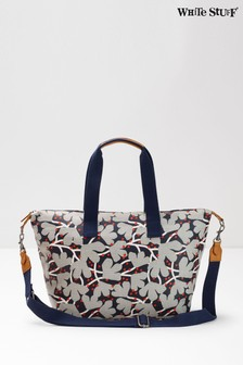 White Stuff Blue Floral Coated Canvas Holdall