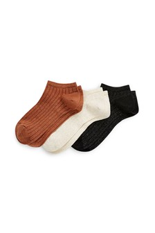 Metallic Thread Rib Trainer Socks Three Pack