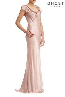 Ghost London Pink Sylvia Boudoir Satin Maxi Dress