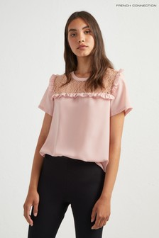 French Connection Pink Lace Sleeve Top