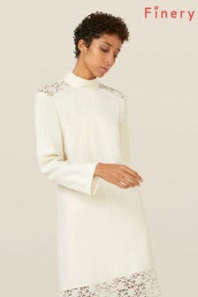 Finery London White Beladonia Lace Trim Dress