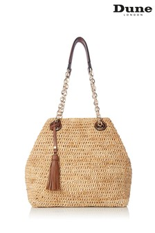 Dune London Delliah Natural Raffia Slouch Bag