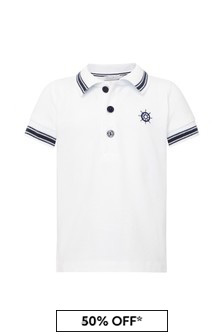 Boys White Cotton Poloshirt