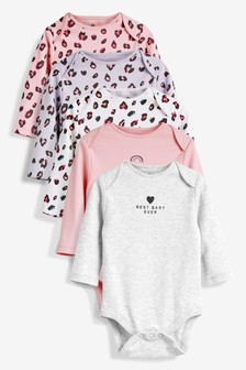 Multi Leopard Print Long Sleeve Bodysuits Five Pack (0mths-2yrs)