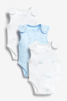 3 Pack Organic Cotton Premature Vest Bodysuits (0-0mths)