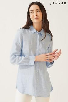 Jigsaw Blue Chambray Linen Shirt
