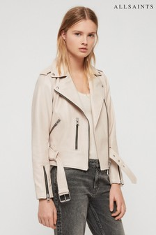 AllSaints Pink Belfern Leather Biker Jacket