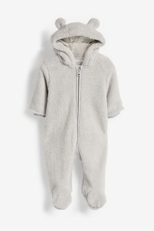 Cosy Fleece Bear Pramsuit (0mths-2yrs)